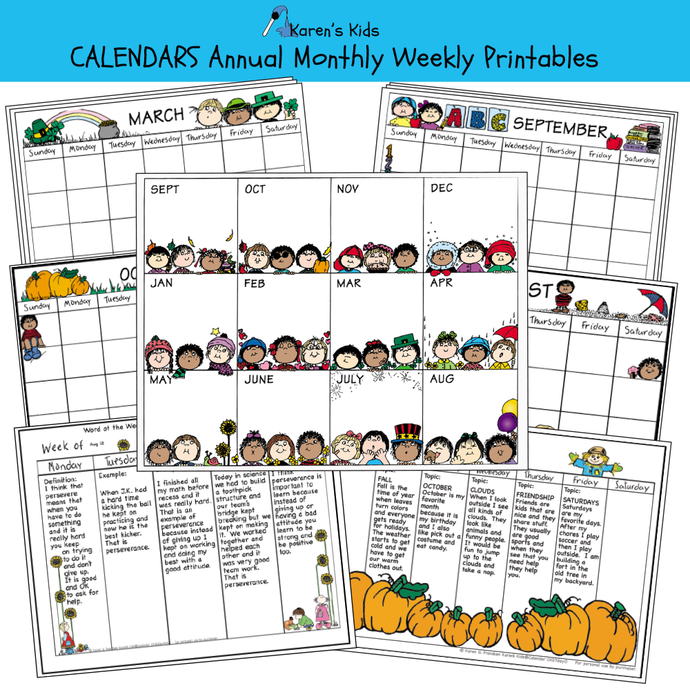 Samples of Annual, Monthly, Weekly calendar printable set.