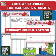 Load image into Gallery viewer, Samples of February Freebie calendar in color and black and white.