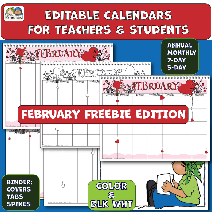 Samples of February Freebie calendar in color and black and white.