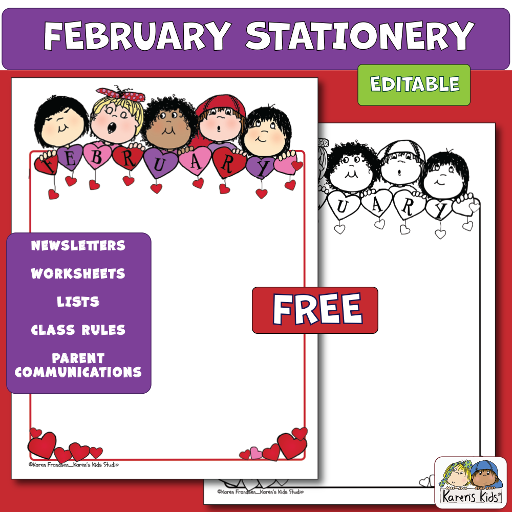 Editable Stationery FREEBIE (Karen's Kids Printables)