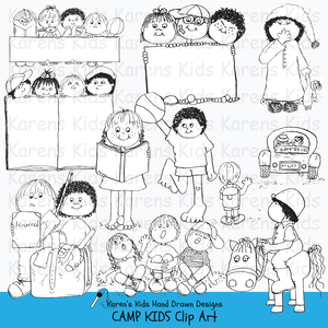 Kids and camp clip art