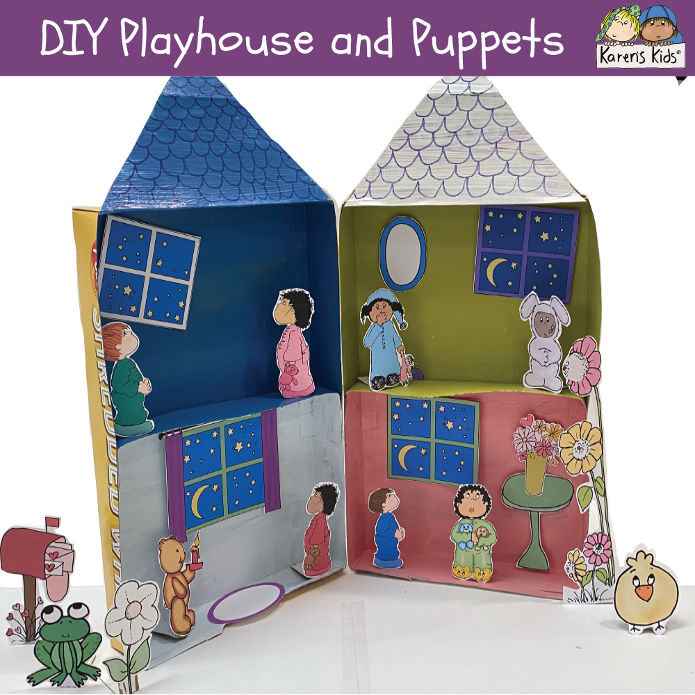 DIY Cereal Box Playhouse and Clipart Puppets