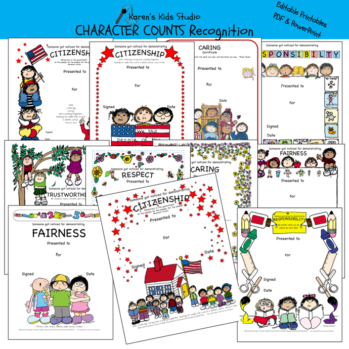 Samples of colorful Character awards and recognition for: citizenship, fairness, responsibility, trustworthiness and more.