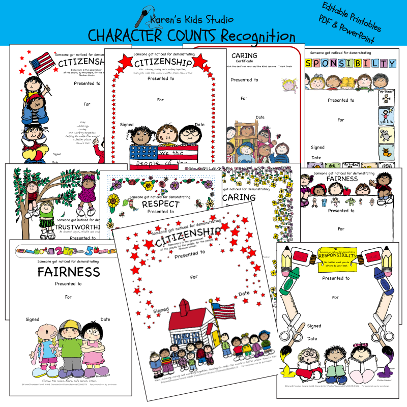 Samples of Character awards and recognition for: citizenship, fairness, responsibility, trustworthiness and more.