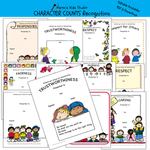 AWARDS Character Awards and Recognition (Karen's Kids Editable Printables)
