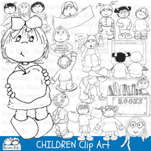 Load image into Gallery viewer, Clip Art Children at School