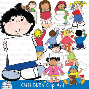 school kids illustrations, girl with apple, children illustrations, kids at school clip art, library clipart, children at school