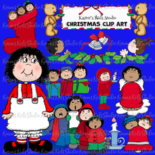 Load image into Gallery viewer, Full color Christmas clipart with PNG background over blue page