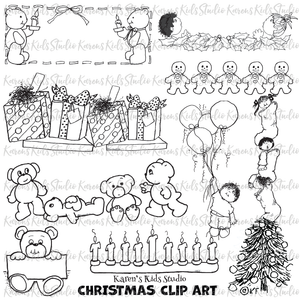 Black and white Christmas clipart samples