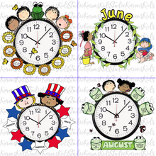 Load image into Gallery viewer, Samples of 4 colorful Clock Hugger, bulletin board sets; May, June, July, August (Printable and Clip Art Sets)