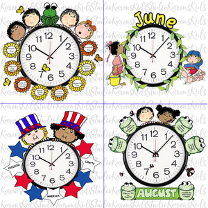 Samples of 4 colorful Clock Hugger, bulletin board sets; May, June, July, August (Printable and Clip Art Sets)