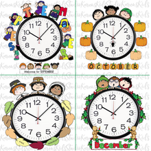 Load image into Gallery viewer, Samples of 4 colorful Clock Hugger, bulletin board sets; September, October, November, December (Printable and Clip Art Sets)