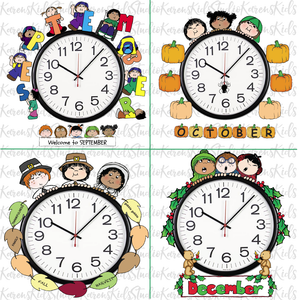 Samples of 4 colorful Clock Hugger, bulletin board sets; September, October, November, December (Printable and Clip Art Sets)