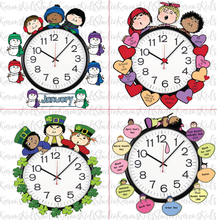 Load image into Gallery viewer, Samples of 4 colorful Clock Hugger, bulletin board sets; January, February, March, April (Printable and Clip Art Sets)