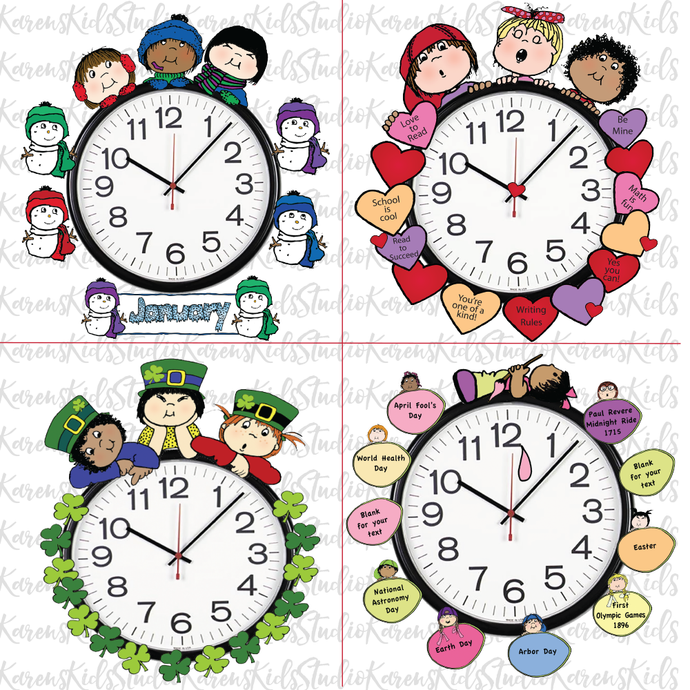 Samples of 4 colorful Clock Hugger, bulletin board sets; January, February, March, April (Printable and Clip Art Sets)