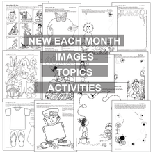 Load image into Gallery viewer, Black, white worksheet samples; ALL ABOUT THIS MONTH Think Create Color from Karen's Kids.