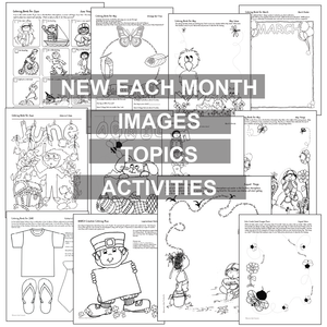 Black, white worksheet samples; ALL ABOUT THIS MONTH Think Create Color from Karen's Kids.