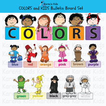 Load image into Gallery viewer, Samples of images in this COLORS BULLETIN BOARD set; kids dressed in one color standing on a label with the color name, bulletin board header, mixing color samples.