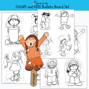 Samples of black, white images for kids to color.  Sample of puppet activity.