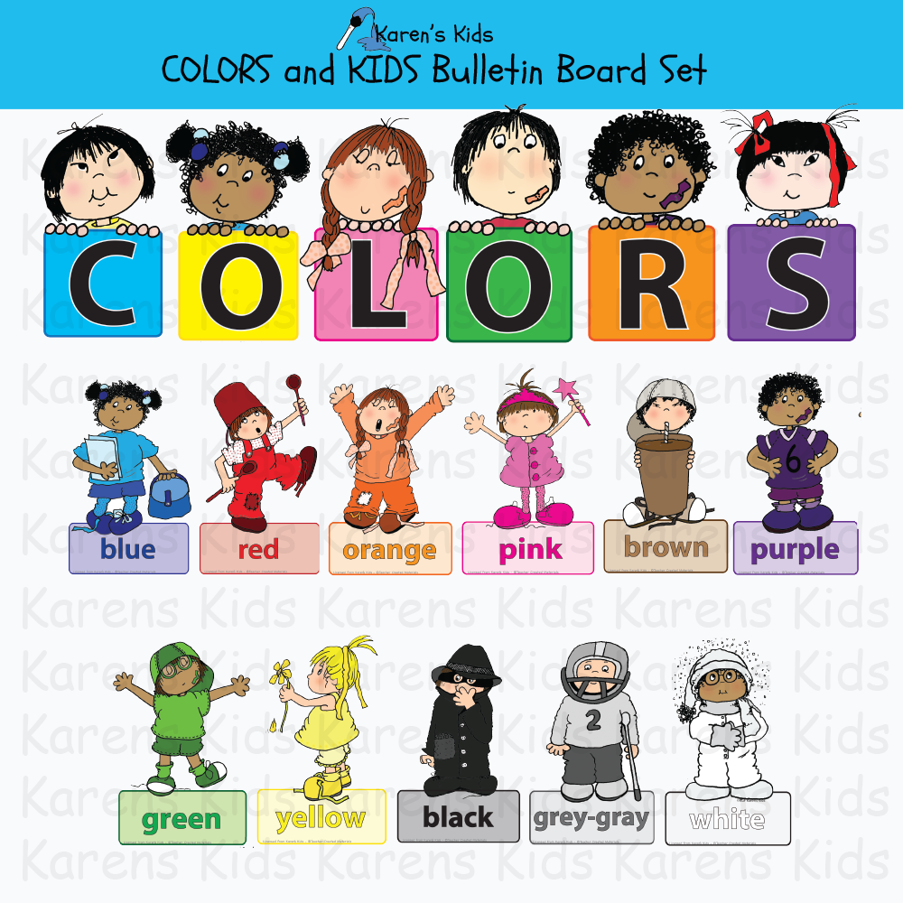 Samples of images in this COLORS BULLETIN BOARD set; kids dressed in one color standing on a label with the color name, bulletin board header, mixing color samples.