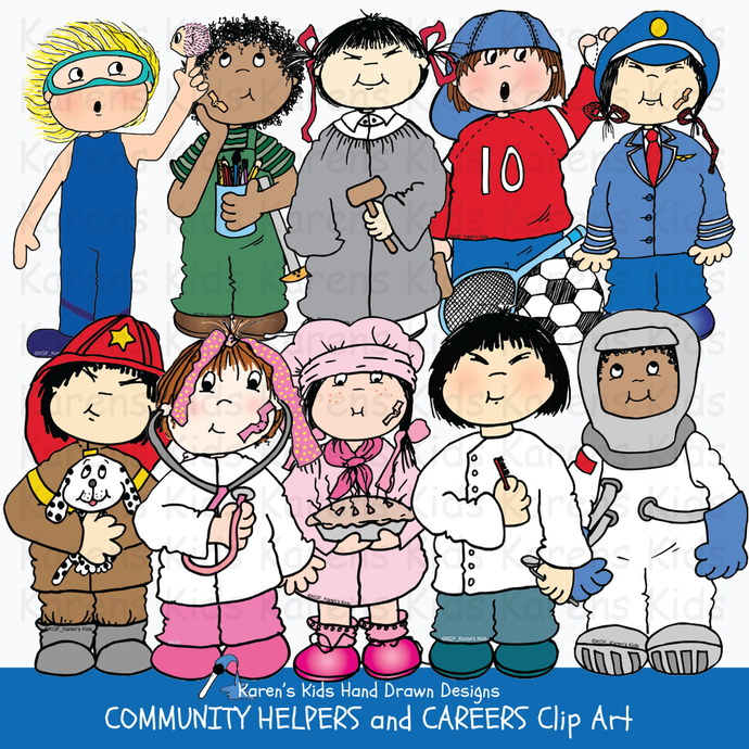 Community helpers clip art, astronaut, dentist illustration, teacher clipart, boy dressed like fighter, girl dressed like police officer, kids dressed like community helpers