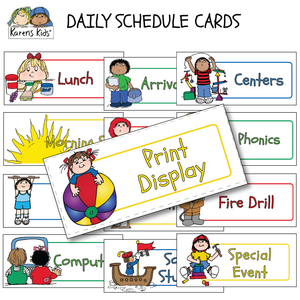 DAILY SCHEDULE CARDS Editable Primary Colors