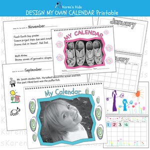 Sample illustrations of a CALENDAR that kids design; cover with smiling girl, journal entry, art page for January, calendar page for January (Karen's Kids Printables)
