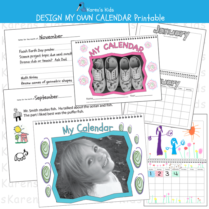 CALENDAR Design My Own Calendar Set Printables