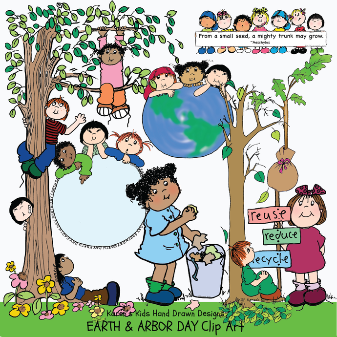 Earth Day illustrations, kids planting, children climbing trees, recycle clip art, kids picking up trash illustrations