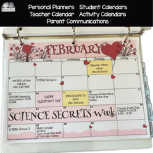 Load image into Gallery viewer, Full color sample of the February annual calendar with sample school activities typed in.
