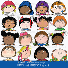 Load image into Gallery viewer, More full color examples of all kinds of kids with different expressions; multicultural kids, kids looking up, kids looking down and kids with smiles, bandaids and untied hair ribbons.