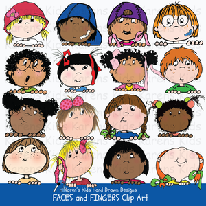 Clip art of children's faces and fingers