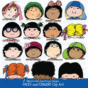 Full color clip art examples of children's faces and fingers from Karen's Kids Clipart Faces and Fingers set; all different kinds of boys and girls with colorful hair, hats and ribbons, and kids peeking over a sign.