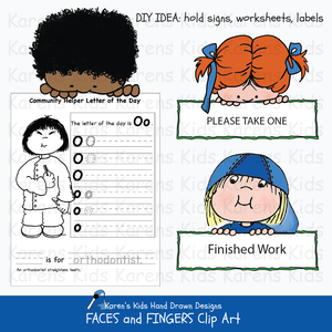 Examples of clip art images of children's faces and fingers for holding signs and announcements from Karen's Kids Faces and Fingers Clipart Set.
