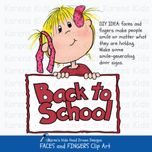 Load image into Gallery viewer,  An example showing how to use Karen's Kids Faces and Fingers clipart; a girl holds up a sign that says Back to School.