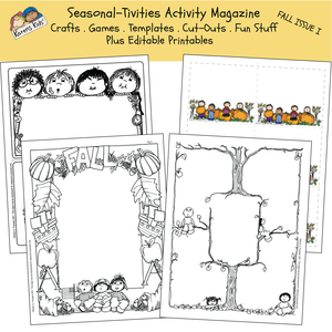 Samples of 4 fall activity worksheets, black white and color, featuring pumpkins, cornucopias, the mayflower and more.