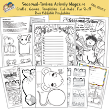 Load image into Gallery viewer, Black and white pages showing activity worksheets for fall including an acrostic Thanksgiving poem, a mouse puppet worksheet and more.