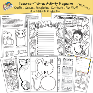 Black and white pages showing activity worksheets for fall including an acrostic Thanksgiving poem, a mouse puppet worksheet and more.