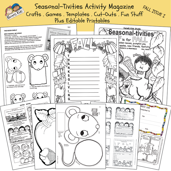 Fall activities: nametags, compliment cards, stickers, Mice Squeak, We Speak activity, and more