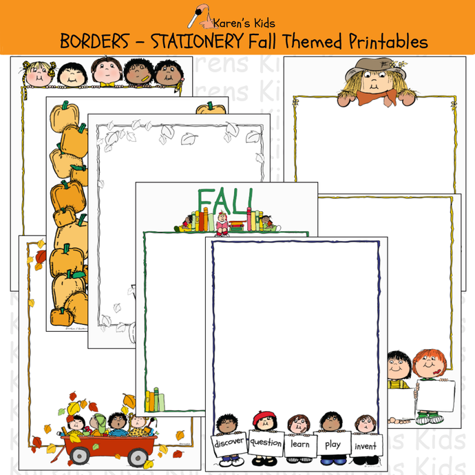 Samples of colorful BORDERS; Fall Borders, stationery (Karen's Kids Editable Printables), with pumpkins, seasonal leaves, and more.