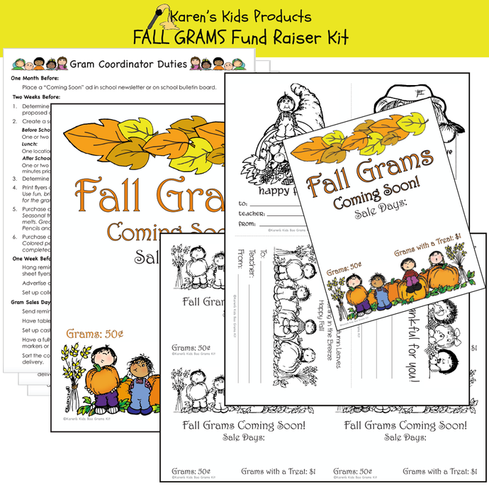 Fundraiser Kit FALL GRAMS (Karen's Kids Editable Printables)