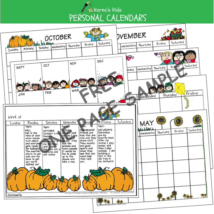 FREE editable calendar sample