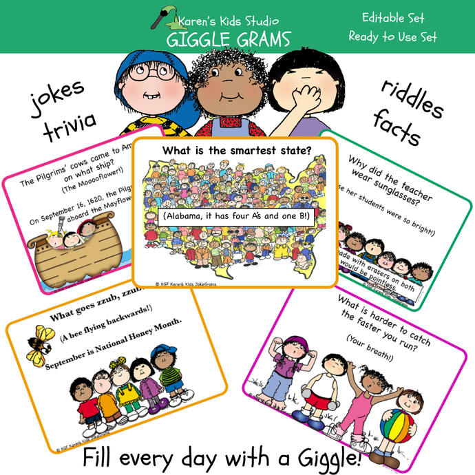 Giggle grams for lunch bags, desks or pockets