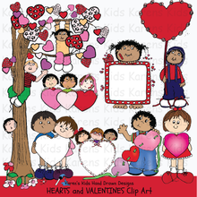 Load image into Gallery viewer, heart drawings, boy holding big valentine, valentine illustrations, tree with valentine leaves, row of hearts, valentine clip art