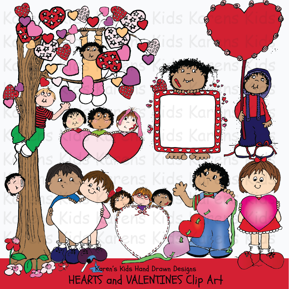 heart drawings, boy holding big valentine, valentine illustrations, tree with valentine leaves, row of hearts, valentine clip art