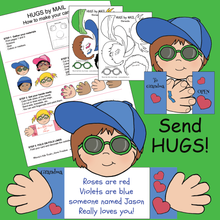 Load image into Gallery viewer, Samples of Hugs by Mail cards that kids make from the cut and paste templates provided.