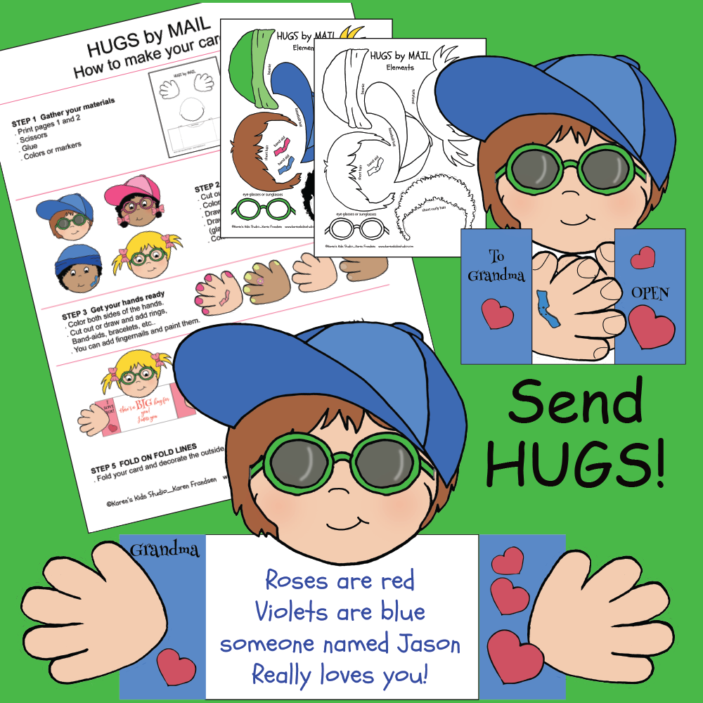 Samples of Hugs by Mail cards that kids make from the cut and paste templates provided.