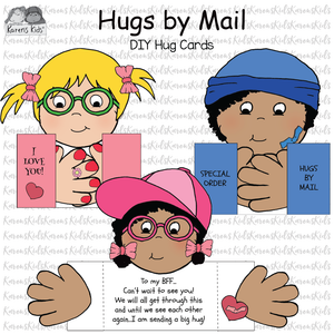 3 samples of Hugs by Mail cards that kids make from cut and paste templates.