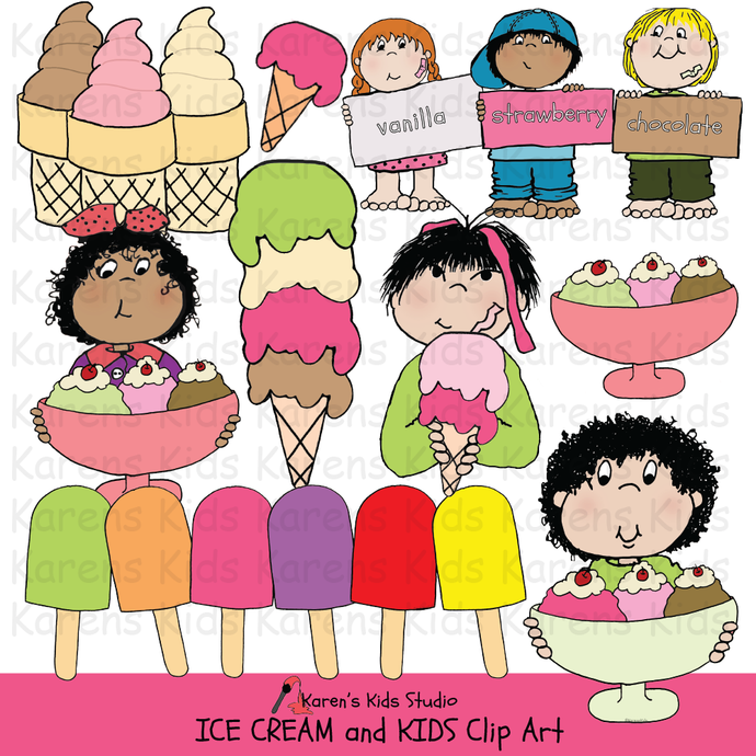 Clip Art Ice Cream and Kids
