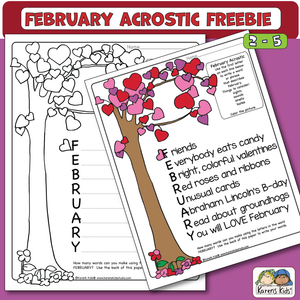 February Acrostic Freebie (Karen's Kids Printables)